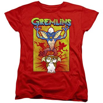Gremlins 2 Womens T-Shirt Gizmo's Afraid Red Tee