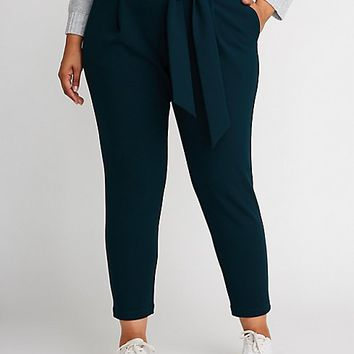 Plus Size Tie Front Paperbag Trousers | Charlotte Russe