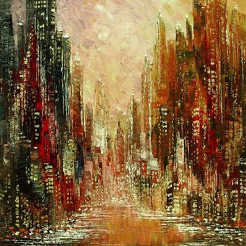 Hand-painted Modern Cityscape Palette Knife Oil Painting on Canvas Handmade Art City Skyline Urban Street large Wall Pictures