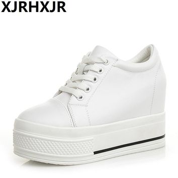 Height Increasing 9cm Canvas Shoes Woman Hidden Heel Platform Shoes White Black Casual Shoes For Women Trainers