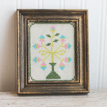 Vintage Needlework, Pastel Egg Tree, Miniature Cross Stitch, Spring Flower Tree, Cottage Home Decor , Ornate Frame, Nursery Art,