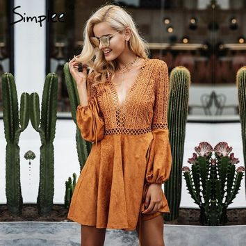 Simplee Sexy lace up v neck suede lace dress women Hollow out flare sleeve winter dress party christmas backless femme
