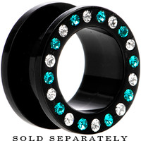 "5/8"" Black Acrylic Blue Multi Jeweled Flesh Tunnel 