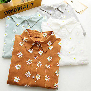 Vintage Women's Long Sleeve Cotton Casual Loose Floral Shirt Tops Fashion Blouse youth