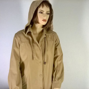 80's Vintage London Fog Trench Coat, Woman's size L Trench coat, Made in USA