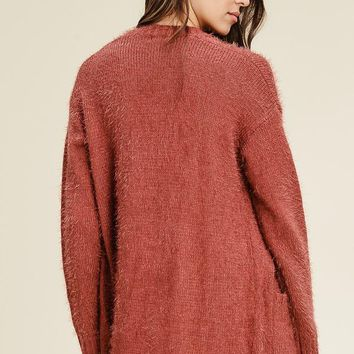 Rose Long Sleeve Fluffy Sweater Cardgian