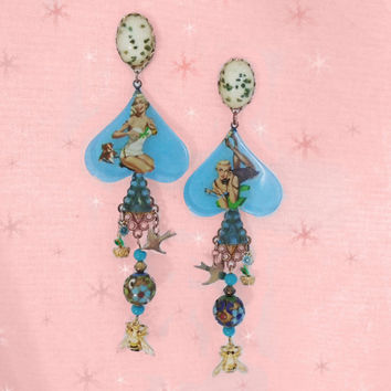 Pin Up Art Earrings - OOAK Retro Birds & Bees Long Chandelier Earrings made with Vintage