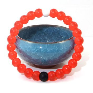 7th Element Silicone Beaded Bracelet Bangle Mud From Dead Sea Water From Mt Everest (Medium, Red)