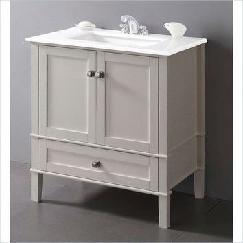 Contemporary Bathroom Vanity in Soft White with Marble Top & Rectangle Sink
