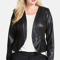 Plus Size Women's City Chic Cutaway Faux Leather Jacket