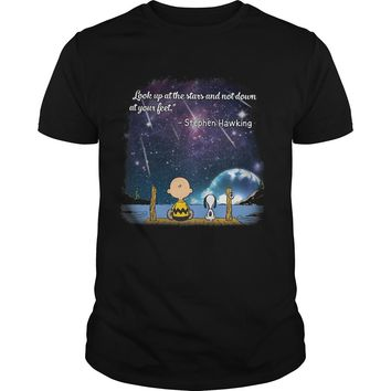 Snoopy and charlie brown look up at the stars and not down at your feet stephen hawking shirt Premium Fitted Guys Tee