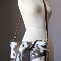 Spotted cowhide crossbody bag, hair on hide purse, zipped clutch, fur wristlet