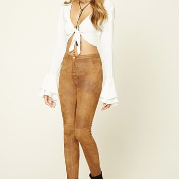 Distressed Faux Suede Pants