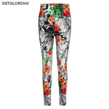 Flower Printed Leggings High Elastic Cotton