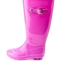 Colored Rubber Rain Boots by Charlotte Russe - Lavender