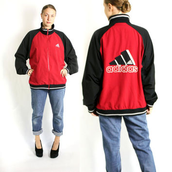 Vintage 80's 90's Red Black Three Stripes Sport Track Jacket, Adidas Windbreaker, Trefoil Jacket - L/XL