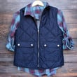 city strut quilted puffer vest - navy