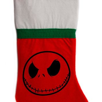"Jack Skellington Nightmare Before Christmas Holiday Stocking 16"" Red/White Felt Hanging Sock Santa Stuffer Merry Gothmas"