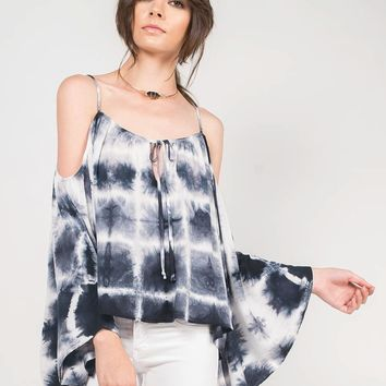 Tie-Dye Dream Cold Shoulder Top