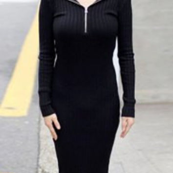Black Long Sleeve Knitted Hoodie Bodycon Dress