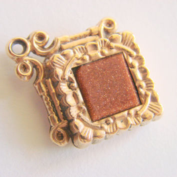 Victorian Carved Goldstone Repousse Gold Plate Watch Fob Antique Jewelry