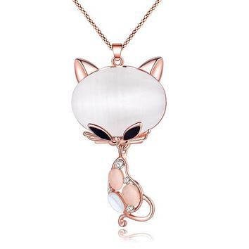 Statement Rhinestone Opal Kitten Cat Necklace Pendant Long Alloy Chain Collar New Fashion Animal Jewelry For Women