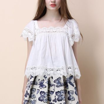 Lace Bliss Smock Top in White