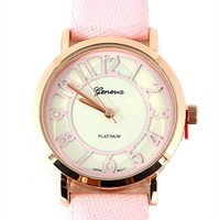 pale pink watch with adjustable leather band