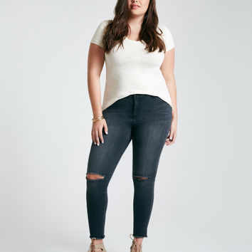 Plus Size Blue Asphalt Slit Knee Perfect Ankle Leggings | Wet Seal