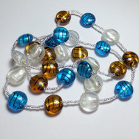 Silver, Gold, and Blue Striped Glass Bead Necklace