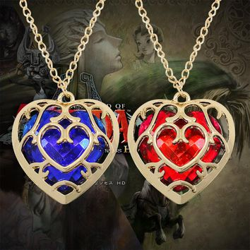 2017 Fashion Jewelry The Zelda Legend Heart Shaped Crystal Necklace Alloy Gold Frame Love Hallow Necklaces & Pendants