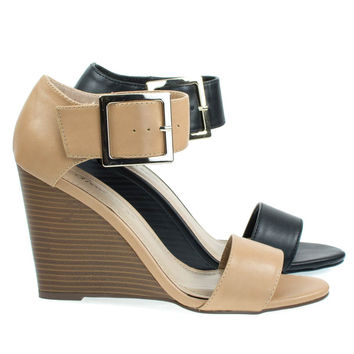Carey05 Natural Beige By Breckelle's, High Heel Wedge Sandal w Faux Stacked Wood & Large Buckle