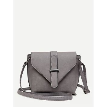 Buckle Detail Flap Shoulder Bag Grey