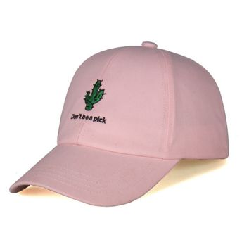 Cactus Embroidery Embroidered Adjustable Plain Hat Cotton Twill Baseball Cap