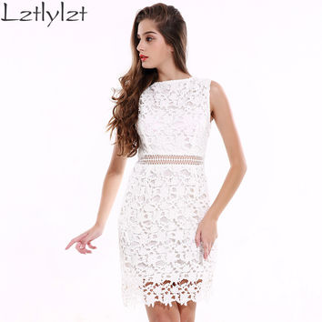 2016 Womens Summer Dresses Bodycon Floral White Lace Crochet Elegant Dress for Gown Party Club Short Evening Female Clothing