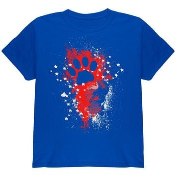 4th of July Kitty Cat Paw Print Stars and Splatters Youth T Shirt
