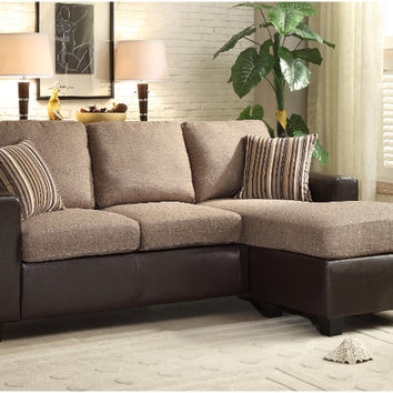 Home Elegance 8401-3SC 2 pc Slater two tone greyish brown fabric and brown vinyl reversible sectional sofa set