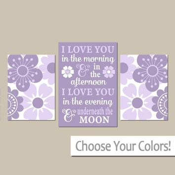 Girl QUOTE WALL ART, I Love You in the Morning Quote, Lavender Lilac Nursery Art, Purple Flowers, Girl Bedroom, Canvas or Prints, Set of 3