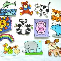 Animal Iron On Appliques Fabric Baby Shower Boy Girl