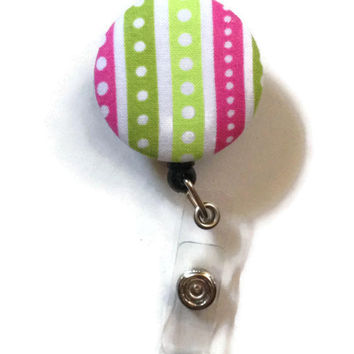 Fabric Covered Retractable Badge Reel Green Polka Dot Stripes Patterned Keychain Lanyard