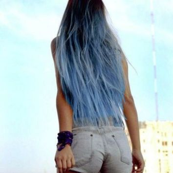 "Sky Blue Ombre Hair Extensions, Blue Dip Dye Hair, Dark Brown Ombre, Black Hair Dip Dyed with Blue//(7) Pieces//22""/Customize your Base"