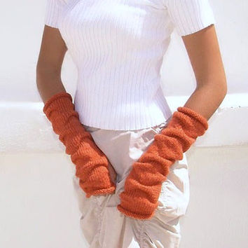 Pumpkin long knit fingerless gloves, Terracota Mittens, Arm Wrist Warmers,  Orange, Black, Halloween