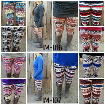 Aztec Tribal Chevron Multi Print High Waist Soft Knitted Leggings Pants IM