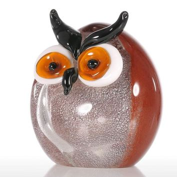 Chubby Owl Figurine Glass Ornament Animal Statuettes Home Decoration Accessories Modern Handblown Home Decor Multicolor
