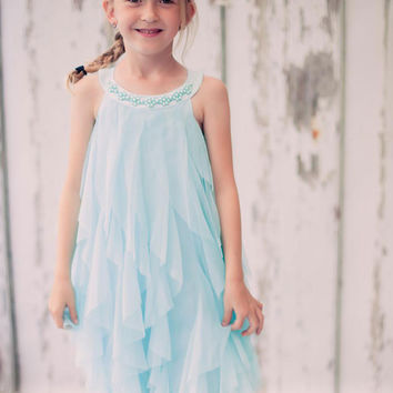 Trendy Aqua Blue Mesh Ruffle Dress