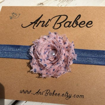 Shabby chic baby headband, flower headband, polka dot flower headband, pink headband, headbands for baby girls, toddlers, and teen girls