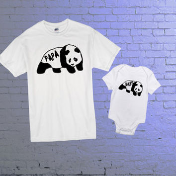 Papa Panda Bear Tshirt. Baby Panda Bear Onesuit. Father and Son T-shirts. Father and Daughter T-shirt. Fathers Day Matching Set.