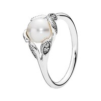Women's PANDORA 'Luminous Leaves' Ring - Silver/ Pearl