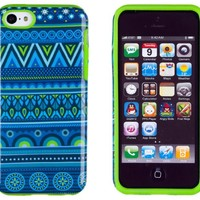 DandyCase 2in1 Hybrid High Impact Hard Blue Aztec Tribal Pattern + Lime Green Silicone Case Cover For Apple iPhone 5C + DandyCase Screen Cleaner