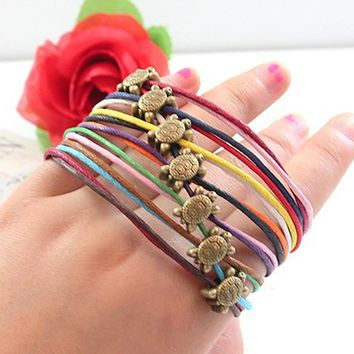 summer new women vintage antique jewelry handmade diy small turtle colorful woven bracelet braided wax rope